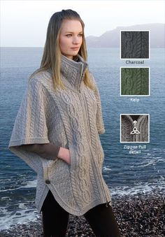 Irish Sweater Zip Poncho, Celtic Knitwear New for Fall – Irish Knit Zip Poncho with Trinity Knot Zipper Pull, made in Ireland Crochet Shawl, Knit Crochet, Knitted Cape, Knit Cowl, Poncho Shawl, Poncho Sweater, Trinity Knot, Hand Warmers, Crochet Clothes