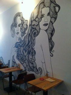 New coffee place!   Hand drawn wall-painting at Bedford Stuyvesant, Javastraat Amsterdam East Side - Inoost.metmik.nl