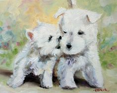 cute white westie west highland terrier puppy dog, home decor, wall art, painting, print, pet