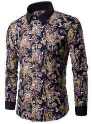 Contrast Collar Long Sleeve Paisley Printed Shirt