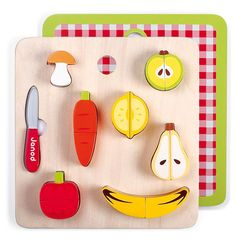 Chunky Wooden Fruits Vegetables Puzzle Playset