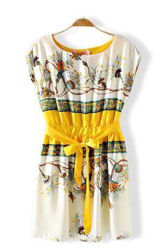 Floral Print O-neck Sleeveless Yellow Vintage Dress
