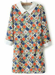 Multi Long Sleeve Geometric Print Chiffon Dress pictures