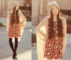 2020ave Tan Beanie, Tart Collections Sabine Wrap, Awwdore Ship Necklace, The Editors Market Red Printed Dress