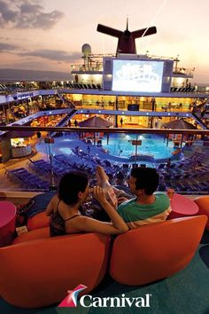 Where else can you watch  a movie by the pool surrounded by sunsets and the ocean? Visit Carnival.com today to get started on your vacation. #cruisecarnival
