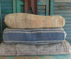 Homespun wool blankets.