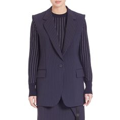 DKNY Pinstripe Sleeveless Jacket (61.995 RUB) ❤ liked on Polyvore featuring outerwear, jackets, apparel & accessories, classic navy, navy jacket, blue sleeveless jacket, navy blue jacket, no sleeve jacket and sleeveless jacket