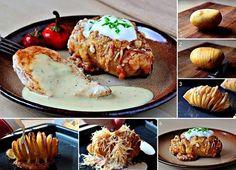 Θεϊκές Πατάτες ακορντεόν !        Υλικά    Για 4-6 άτομα    4 μεγάλες πατάτες  70-100 γραμμάρια βούτυρο (ανάλογα με το μέγεθος της πατάτας)  1-2 σκελίδες σκόρδο ψιλοκομμένες  μερικά φύλλα δεντρολίβανο  150 γραμμάρια κασέρι κομμένο σε φέτες  ψιλοκομμένο μαϊντανό  χοντρό αλάτι  κρεμα γαλακτος  μπεικον  διαφορα τυρια    Εκτέλεση    Με ένα αποφλοιωτή ξεφλουδίζετε τις πατάτες