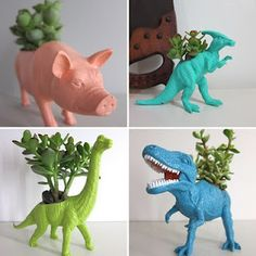 Cute idea for a Kids Party craft. Buy Large plastic animals from the dollar store. Dremel out the backs and then spray paint if you choose. Teach the kids about gardening.
