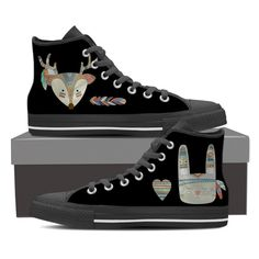 2de4cb5a72c6 Tribal Vintage Rabbit   Deer Womens High Top Shoe Printed Sneakers