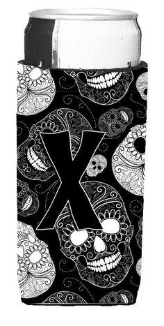 Letter X Day of the Dead Skulls Black Ultra Beverage Insulators for slim cans CJ2008-XMUK