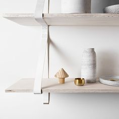 Assemblages Leather Shelves Double - leather straps for shelving Stairs And Doors, Cozy Office, Plywood Shelves, Painting Leather, Wall Treatments, Interior Accessories, Home Organization, Declutter, Home Projects