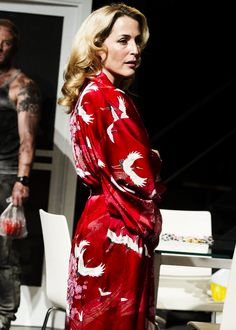 Gillian Anderson as Blanche DuBois in 'A Streetcar Named Desire'. Play performed at the Young Vic Theatre in London.