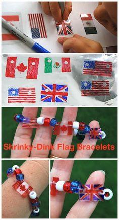 labor day crafts for kids shrinky dink flag bracelet: super-cool patriotic craft Crafts For Seniors, Easy Crafts For Kids, Toddler Crafts, Preschool Crafts, Fun Crafts, Around The World Crafts For Kids, Camping Crafts, Holiday Crafts, Memorial Day