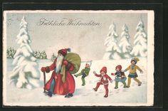 stare pocztówki: AK Kinder folgen dem Weihnachtsmann