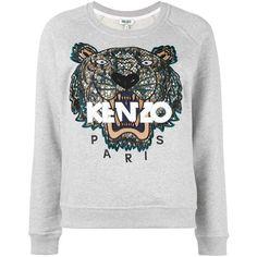 Kenzo - Tiger sweatshirt - women - Cotton - M (4.760 ARS) ❤ liked on Polyvore featuring tops, hoodies, sweatshirts, grey, cotton sweatshirts, long sleeve sweatshirt, gray sweatshirt, grey sweatshirt and embroidered sweatshirts