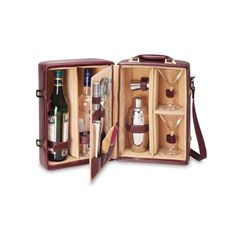 What a great idea.  I am going to make one of these. Amazon.com: Picnic Time Manhattan Insulated Two-Bottle Cocktail Case/Bar Tool Kit, Mahogany: Kitchen & Dining