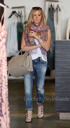 Seen on Celebrity Style Guide: Ashley Tisdale gets her Planet Blue fix wearing these boyfriend jeans and studded ankle booties on a shopping session with a girlfriend in Beverly Hills April 3  Get Her Jeans Here: http://rstyle.me/n/hzigimxbn