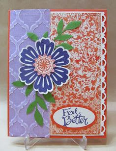 Feel Better Floral Card using Blossom punch, Venetian Romance dsp and Modern Mosaic embossing folder. Stampin' Up!