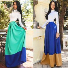 Women Fashion Slim Turn Down Collar High Waist Patchwork Contrast Color Maxi Dress with Belt