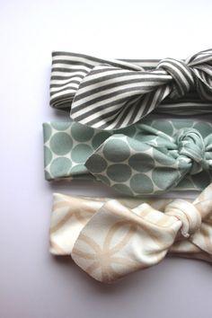 Baby Girls Organic Cotton Headband Set by HollyAnnaHandmade