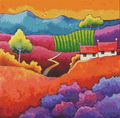 Cross stitch modern art by Gillian Mowbray 'Where by GeckoRouge, $85.00