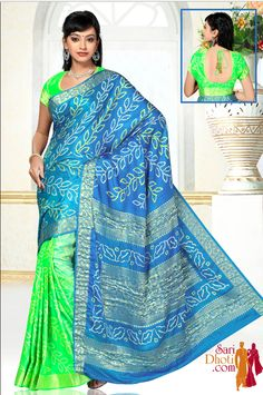 Green and Turquoise blue Bandhni Tie and Dye print #saree with #designerblouse @ http://www.saridhoti.com #silkcottonsaree #kanchipuramsarees