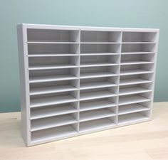 Our popular Punch Organizer just got much better! Now, with premium wood inserts painted white, our Paper Punch organizer is fully adaptable for all types of punches.Originally designed for the SU / E Sewing Room Storage, Craft Room Storage, Paper Storage, Craft Rooms, Scrapbook Storage, Scrapbook Organization, Craft Organization, Punch Storage, Stamp Storage