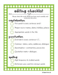 3 Checklists to aid in writing workshop - edit, revise and peer edit