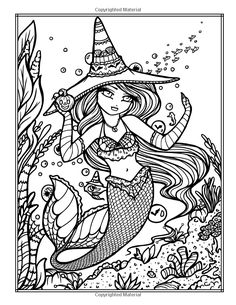 Enchanted Halloween: A Whimsy Girls Fantasy Coloring Book Blank Coloring Pages, Mermaid Coloring Pages, Fall Coloring Pages, Adult Coloring Book Pages, Doodle Coloring, Colouring Pics, Printable Coloring Pages, Coloring Books, Free Adult Coloring