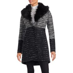 Catherine Catherine Malandrino Faux Fur Accented Knit Coat featuring polyvore, women's fashion, clothing, outerwear, coats, black grey, gray faux fur coat, fake fur lined coats, grey faux fur coat, imitation fur coats and knit coat