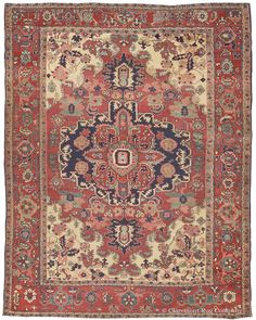 Serapi, 9ft 11in x 12ft 6in, 3rd Quarter, 19th Century. The great uniqueness and fluidity of design of this 125-year-old antique oriental Serapi carpet is both unexpected and most captivating. Its generous use of rarely seen naturally dyed greens deeply enhances its appeal. This 19th Century Persian Serapi offers a rhythmic and graceful air that truly embodies casual elegance.