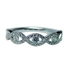 Fine Vintage Diamond Micropave Ring Band 14K White Gold Estate Jewelry  #Band