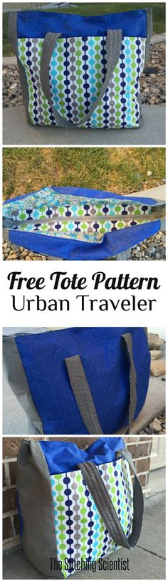Urban Traveler Tote Bag Pattern #freebagpattern