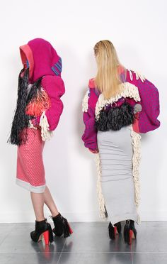 Back detail; tassels, fringing and chunky knit. The Lost Tribe. Jessica Deacon
