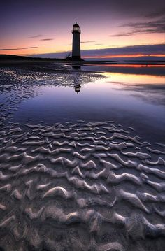 Point of Ayr Lighthouse on Talacre Beach in North Wales
