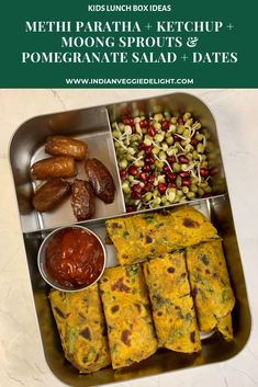 Methi Paratha + Ketchup + Moong Sprouts & Pomegranate Salad + Dates - Kids Lunch Box Ideas - Lunch Box Recipes, Lunch Snacks, Lunch Kids, Kid Lunches, Lunchbox Ideas, School Lunch, Snack Recipes, Healthy Lunches For Kids, Kids Meals
