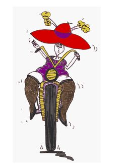 Auntie On The Road by @doodleguy, Auntie in stockings and hat, on a big bike., on @openclipart