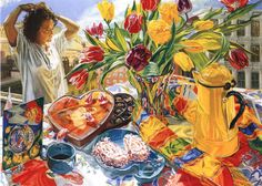 Harriot Shorr colorful still life oil painting http://www.tfaoi.com/am/13am/13am111.jpg