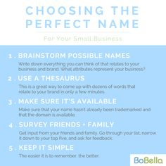 When establishing a new business, you'll need to figure out a company name. Your company's name will play a monumental role in the brand's growth and perception. To put it simply, it's more than just a name; it's the identity of your brand. Here are a few tips to help guide you in choosing a name.  Developing a company name deserves time and attention, and when handled properly, it'll change a business forever - Let our professionals at BoBella assist you! Contact Us: info@bobellabrands.com