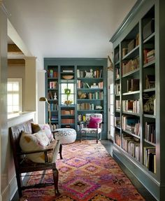 Love the color of the bookshelves. The Trends Designers Hope Not to See in 2018 Love the color of the bookshelves. The Trends Designers Hope Not to See in 2018 Bookshelves Home Library Design, House Design, Design Desk, Library In Home, Library Bookshelves, Painted Bookshelves, Bookcases, Painted Built Ins, Blue Bookshelves