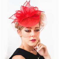 2015 Lady Fashion Bow Top Hat Fascinator Elegant Church Hat with Headband Net and Veil design White Black Red Blue
