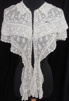 RARE ORIGINAL ANTIQUE VICTORIAN CIVIL WAR EMBROIDERY DRESS FICHU SHAWL CAPE #Dresses
