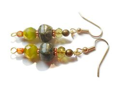 Green Lace Agate Agate Earrings Bohemian Earrings by chicagolandia, $20.00