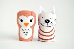 Cork owl and wolf