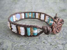 Braided white and turquoise Single Wrap Bracelet
