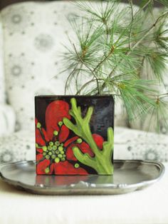 Holiday Flat Box Vase  Red Poppy Pattern  Bold by romyandclare, $57.00