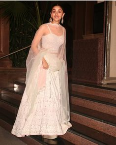 Alia Bhatt Looks Extremely Beautiful As She Wears White Lehenga At Cousin Sister's Wedding - HungryBoo Wedding Dresses For Girls, Indian Wedding Outfits, Bridal Outfits, Indian Outfits, Ethnic Outfits, Ethnic Dress, Indian Ethnic Wear, Lehenga Designs, Dress Indian Style