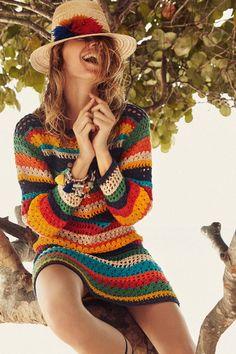Fabulous Crochet a Little Black Crochet Dress Ideas. Georgeous Crochet a Little Black Crochet Dress Ideas. Débardeurs Au Crochet, Mode Crochet, Crochet Crafts, Crochet Bikini, Crochet Clothes, Diy Clothes, Crochet Dresses, Hippie Top, Boho Hippie