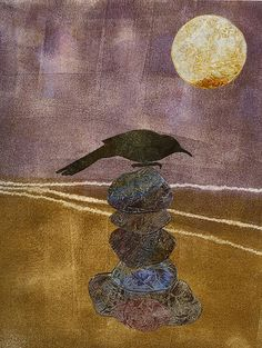 """Sublime Black Corivid on a Cairn....I just LOVE the """"washed Colour Palette"""" on this!! by Roberta Warshaw"""